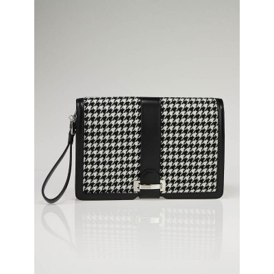 Salvatore Ferragamo Houndstooth Wool and Calfskin Clutch Bag