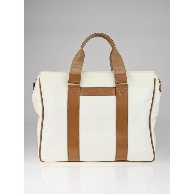 Salvatore Ferregamo White Nylon Leather Trim Large Tote Bag