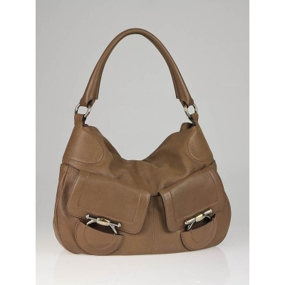 Salvatore Ferragamo Brown Leather Pockets Hobo Bag