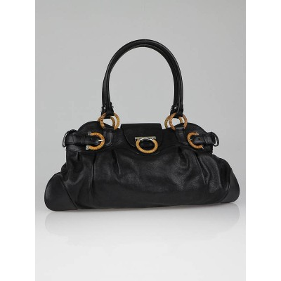 Salvatore Ferragamo Black Leather Satchel Bag