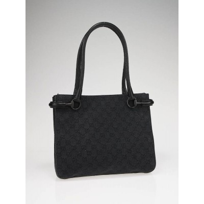 Gucci Black GG Fabric/Leather Square Tote Bag