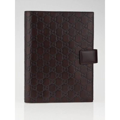 Gucci Brown Leather Guccissima  Agenda