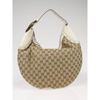 Gucci Beige/Ebony Canvas Buckle Hobo Bag