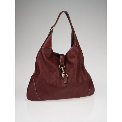 Gucci Dark Red Guccissima Leather Jackie O Bouvier Hobo Bag