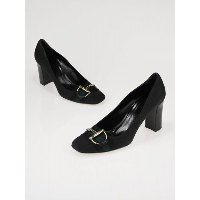 Gucci Black GG Canvas Horsebit Heels Size 9.5/40