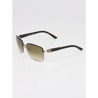 Gucci Brown Tortoise Shell Rimless Gradient Havana Sunglasses -2863/S