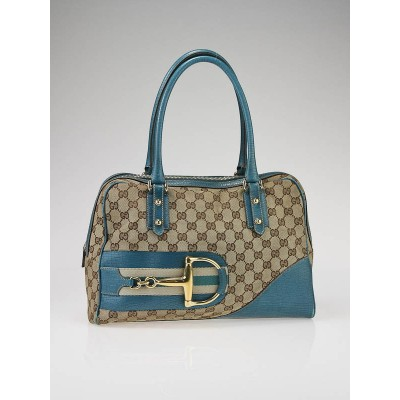 Gucci Beige GG Fabric Horsebit Boston Bag