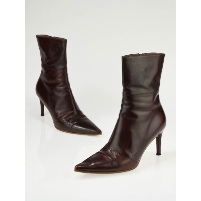 Gucci Rosewood Leather Stivalleto Pell Mid Ankle Boots Size 9