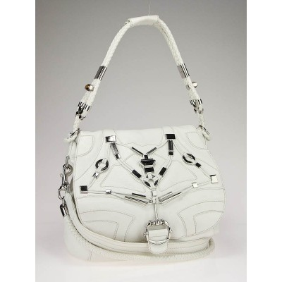 Gucci White Leather 'Techno' Horsebit Large Flap Bag