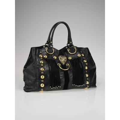 Gucci Black Leather Babouska Heart Medium Tote Bag