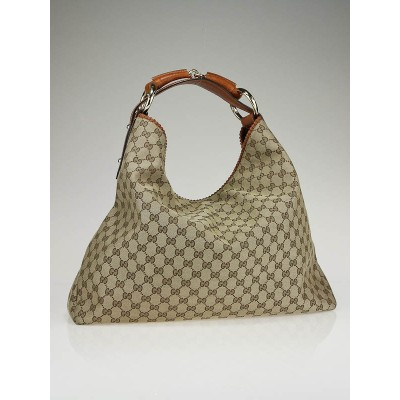 Gucci GG Beige/Brown Fabric Large Horsebit Hobo Bag