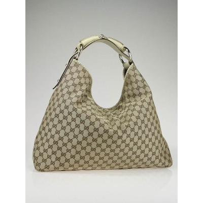 Gucci Beige/Ebony GG Fabric Chain Large Horsebit Hobo Bag