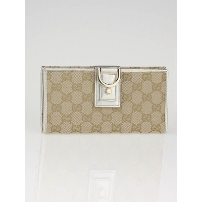 Gucci Beige/Gold GG Fabric Abbey Long Wallet