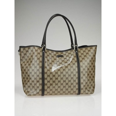 Gucci Beige/Ebony 'GG Crystal' Coated Canvas Joy Large Tote Bag