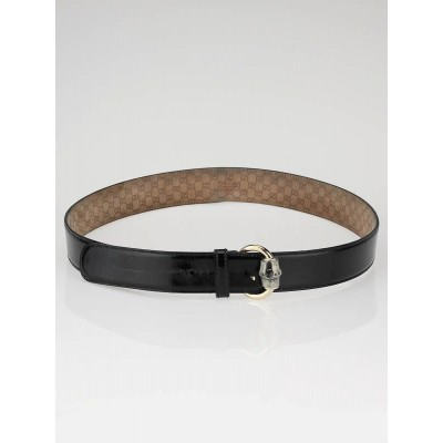 Gucci Black Patent Leather Bamboo Buckle Belt
