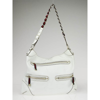 Gucci White Leather Front Pocket Princey Shoulder Bag