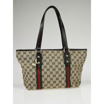 Gucci Beige GG Fabric Jolicoeur Stripe Medium Tote Bag