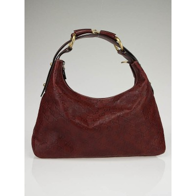 Gucci Bordeaux Guccissima Leather Chain Medium Horsebit Hobo Bag