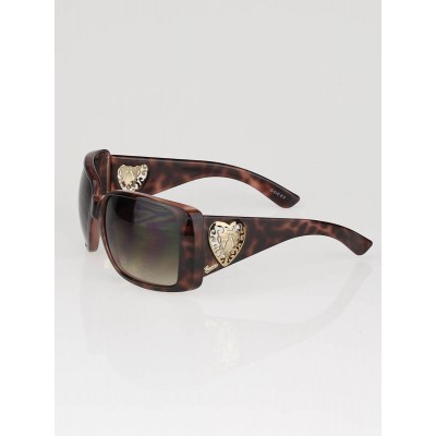 Gucci Brown Tortoise Heart Crest Sunglasses
