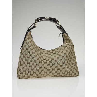 Gucci Beige/Ebony GG Fabric Medium Horsebit Hobo Bag