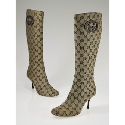 Gucci Beige GG Canvas Monogram Tall Boots 7/37.5