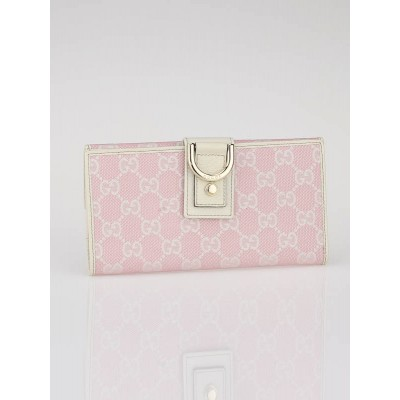 Gucci Pink/White GG Fabric Abbey Long Wallet