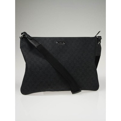Gucci Black GG Canvas Large Messenger Bag