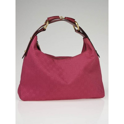 Gucci Pink GG Canvas Horsebit Chain Medium Hobo Bag