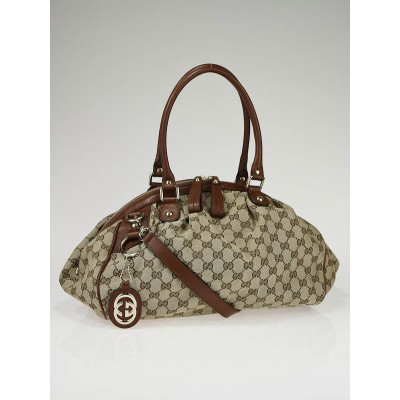 Gucci Beige/Brown GG Canvas Sukey Medium Boston Bag