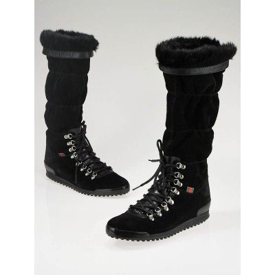 Gucci Black Suede 'Trek' Lace-Up Boots 8/38.5