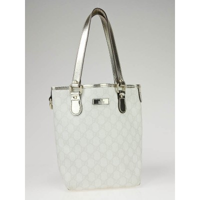 Gucci White GG Coated Canvas Small Tote Bag