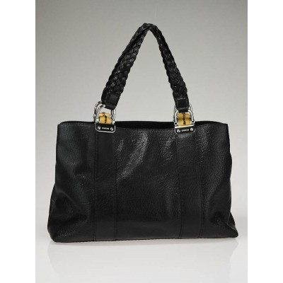 Gucci Black Leather Bamboo Bar Medium Tote Bag