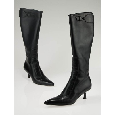 Gucci Black Leather Tall Boots Size 5.5/36