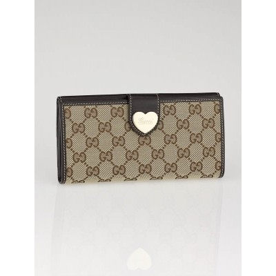 Gucci Beige/Ebony GG Canvas Engraved Heart Continental  Wallet