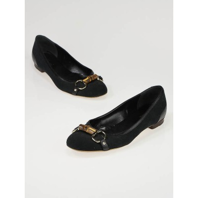 Gucci Black GG Canvas Bamboo Flats Size 7.5