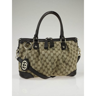 Gucci Beige/Ebony GG Canvas Sukey Small Tote Bag