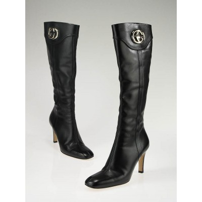 Gucci Black Leather Tall GG Britt Boots Size 8