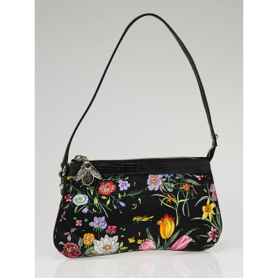 Gucci Black Silk Flower Garden Bee Charm Pochette Bag