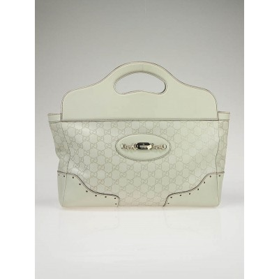 Gucci White Guccissima Leather Frame Top Satchel Bag