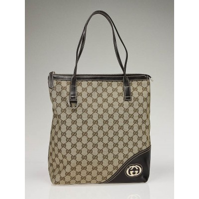 Gucci Beige/Ebony GG Canvas 'Britt' Tote Bag