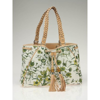 Gucci Beige and Cream Floral Print Tote Bag