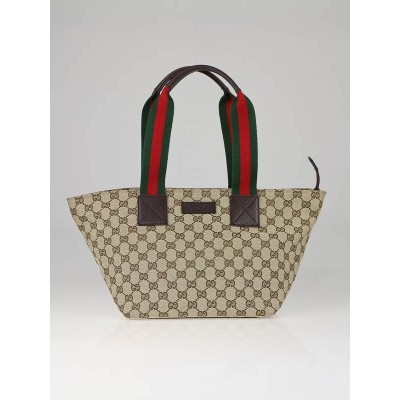 Gucci Beige/Ebony GG Canvas Small Tote Bag