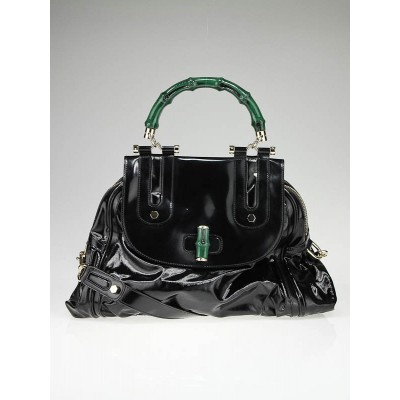 Gucci Black Dialux Green 'Pop' Bamboo Handle Tote Bag
