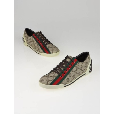 Gucci Beige/Ebony GG Plus Coated Canvas Web Sneaker Size 9/39.5