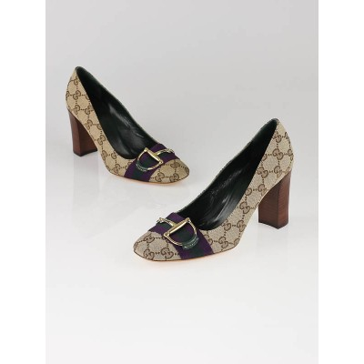 Gucci GG Canvas Purple/Green Web Pump Size 7/37.5C