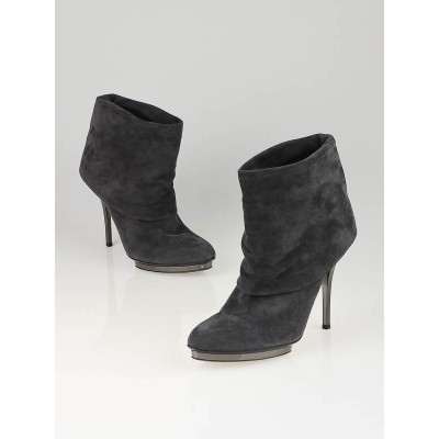 Gucci Grey Suede Platform Foldover Ankle Boots Size 10/40.5