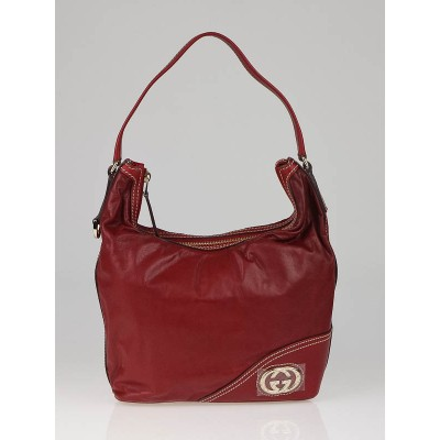 Gucci Red Leather Britt Hobo Bag