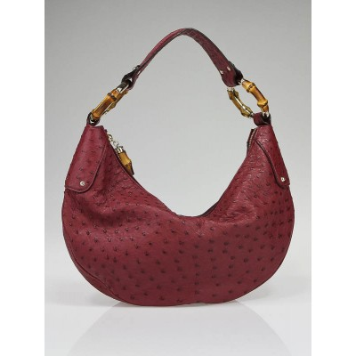 Gucci Red Ostrich Leather Bamboo Ring Medium Hobo Bag