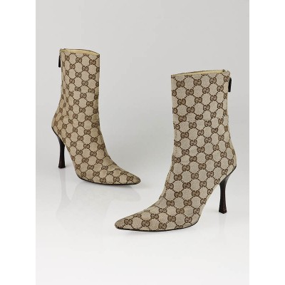 Gucci Beige/Ebony GG Canvas Ankle Zip Boots Size 7.5