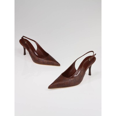 Gucci Brown Guccissima Slingback Heels Size 7.5B
